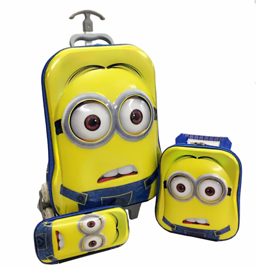 2017 Minions bagage ensemble Trois pièces costume set de valise de voyage pour les étudiants comprennent (boîte à lunch + stylo boîtes + chariot bagages)