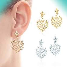 Bulgaria earrings silver gold color leaf shape original 100% 925 sterling womens high quality free shipping jewelry
