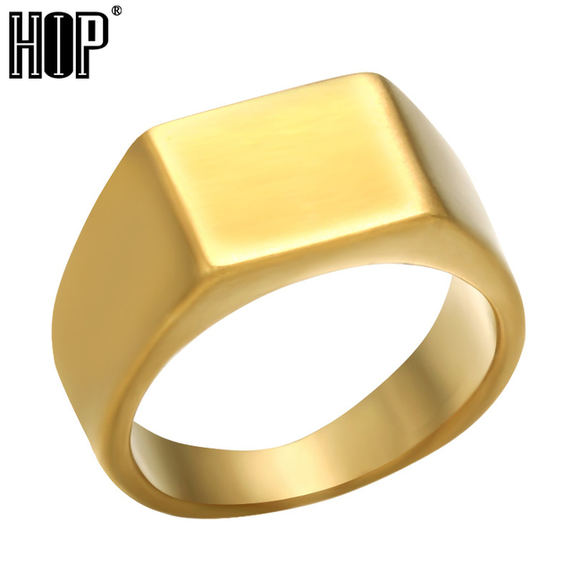 HIP Simple Style 3 Colors Titanium Stainless steel Geometric Square Rings for Me