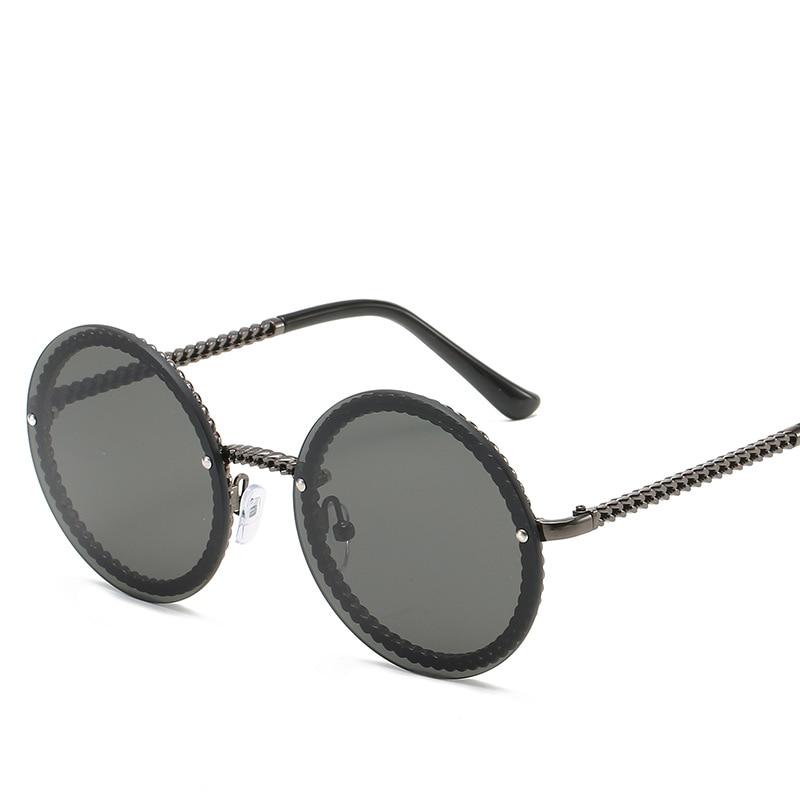Vintage Rimless  Round Sunglasses For Women Chain Shape Small Designer Sunglasses Female Sun Glasses Eyewear UV400