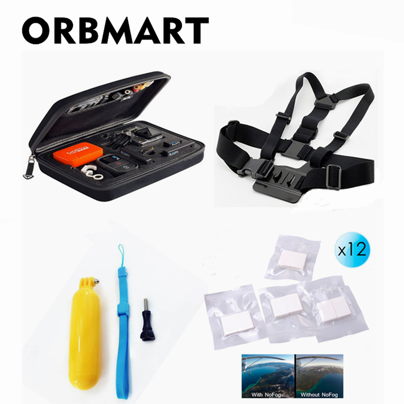 Systematic Orbmart Gopro Kit Storage Case Collection Bags Bobber Floating Selfie Stick Chest Body Belt Anti Fog For Sport Cameras
