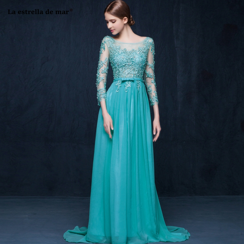 Vestidos dama de honor largos2019 new Scoop neck tulle beaded long-sleeved halter A Line turquoise   bridesmaid     dress   quality