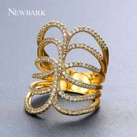 NEWBARK HOT New Stacked Rings For Lady Gold Silver Color Hollow Micro Inlay Zircon Butterfly Wings