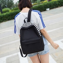 Fashion New Ins Super Fire Stripes Portable Backpack Female Harajuku Solid Color Student Oxford Bag Personality Couple