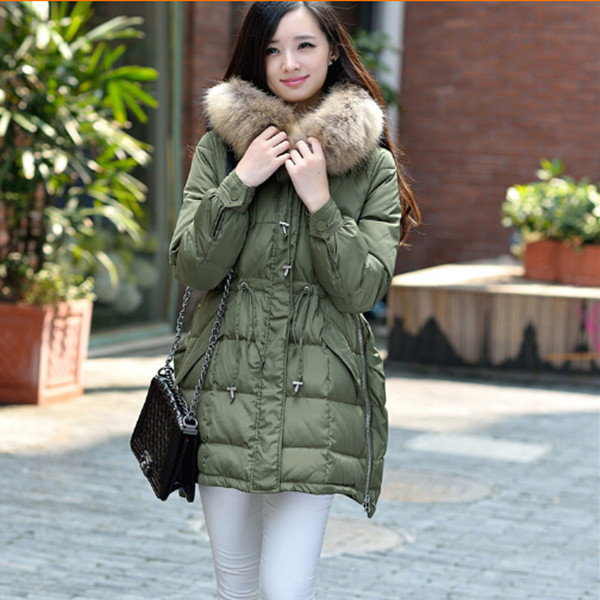 ФОТО New 2015 high quality women's winter jackets long fur collar hood winter coat white duck dowm coats female warm parkas Q304