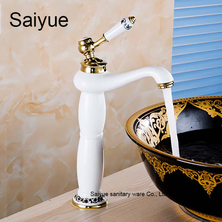European Luxury Baked Grilled Blue and White Paint Gold-Plated Faucet Hot and Cold Tap Bathroom Vessel Sink Lavatory Basin Grifo