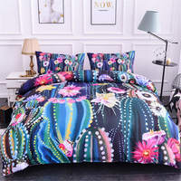 ZEIMON Soft Home Decoration Plant Bedding Set Multi color Cactus Printing Comforter Home Textiles Bedspread Luxury Bedclothes