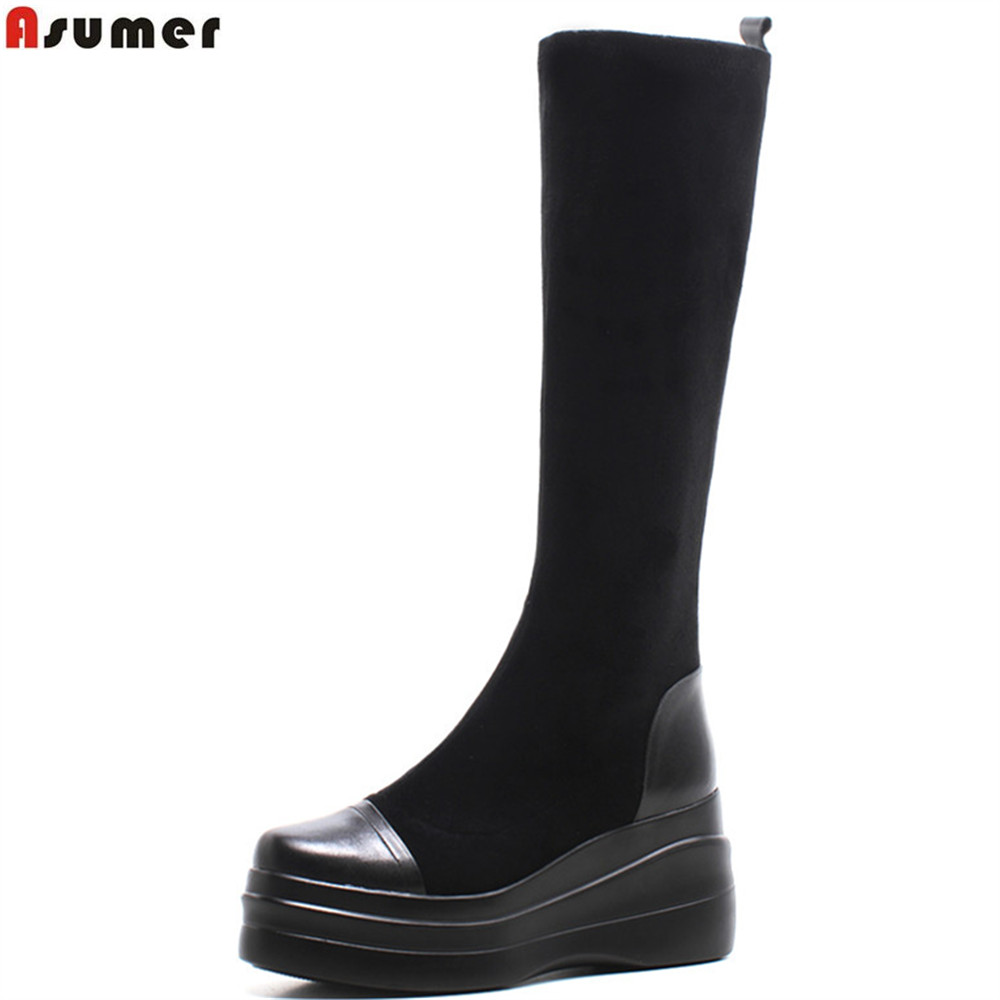ASUMER black fashion winter new ladies shoes round toe platform wedges boots stretch fabric+cow leather knee high boots