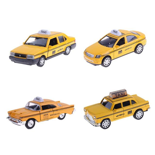 4 Types 1 32 Mini Alloy Taxi Car Toy Metal Pull Back Simulation Model