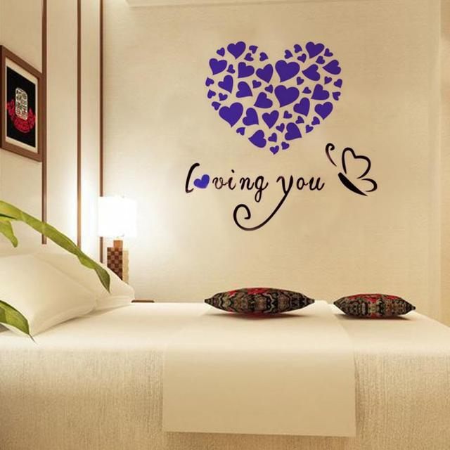 Lovely Heart Shaped 3D Acrylic Mirror Wall Stickers Bedroom Modern ...