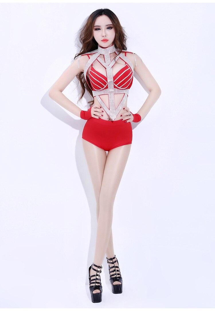 Hip Ds Dj De Sexy Col Vêtements Nouveau Femmes Rouge Strass Ensemble Costumes Danse 2019 Scène Discothèque Bar Brillant Hop xRS6qnP