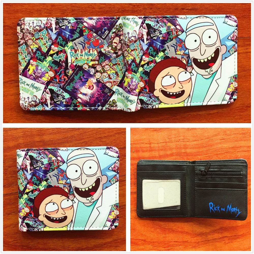 2018 New arrivel anime cartoon Rick and Morty wallet PU leather bifold wallet ID credit card holder purse funny gift W720Q rick and morty pu faux leather bifold wallet dft 10112