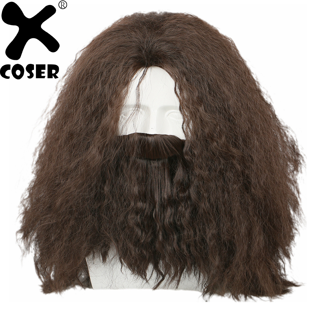 XCOSER Harry Potter Hagrid Wig Cool Brown Long Curly Wavy Hair With Beard Adult Cosplay Costume Accessories Synthetic Hairs