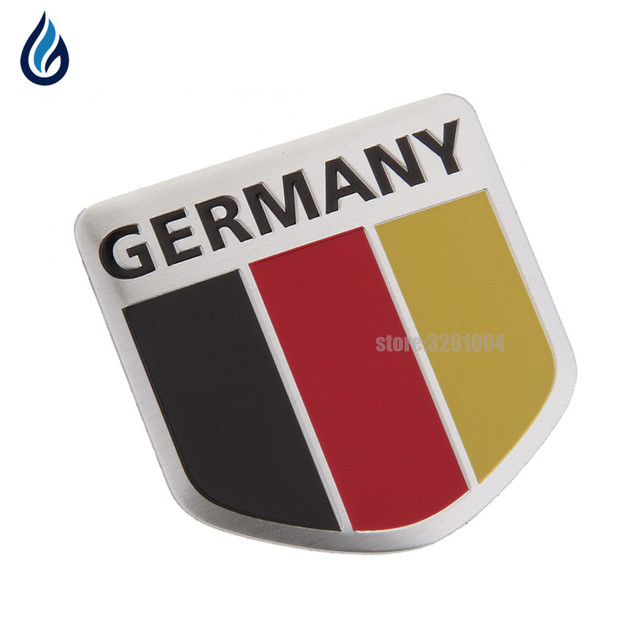 5x5cm Car Aluminum Germany Flag Shield Emblem Badge Truck Auto Decals Sticker for Mercedes Benz bmw audi Volkswagen Vw opel ford