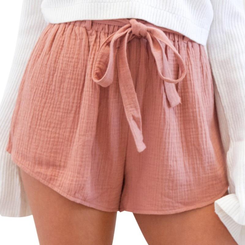 2018 Fashion Womens Casual Soft   Shorts   Ladies Summer Loose Solid Bandage   Shorts   Skirts Casual Slim Fashion   Short   Feminino