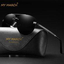 MYMARCH Mens Polarized Sunglasses Vintage Mirror Pilot Sun Glasses Rimless Driving Classic Male Oculos Gafas UV400 2019