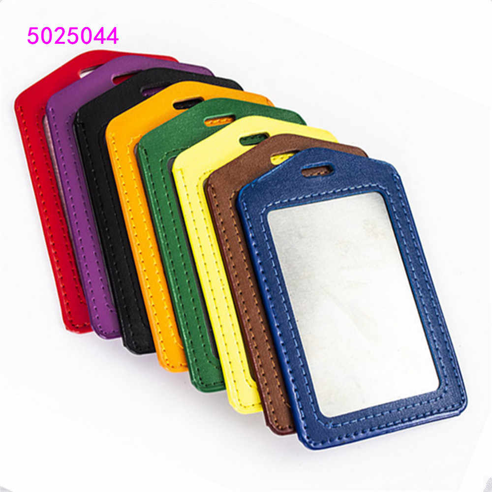 PU Leather  card sleeve ID Badge  Bank Credit Card Badge Holder Accessories Reels Key Ring Chain Clips School student office