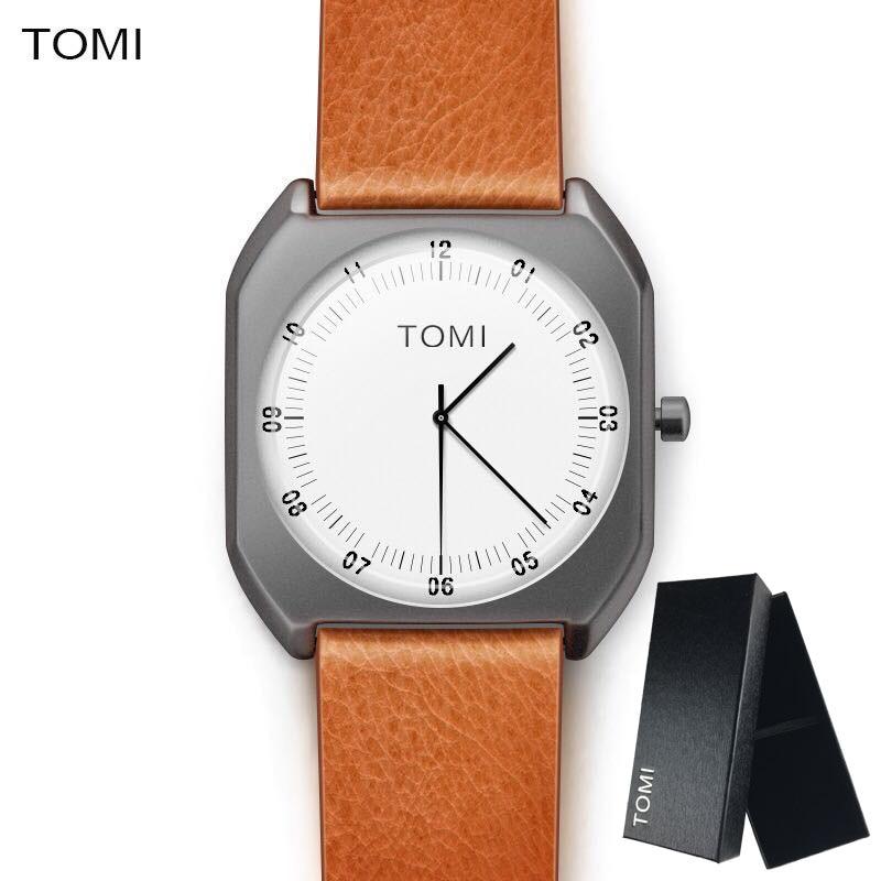 TOMI Marque Nouvelle Mode de luxe femme Élégante Montres Simple Ultra Mince cadran Casual Male Horloge À Quartz Homme Montre-Bracelet Cadeau
