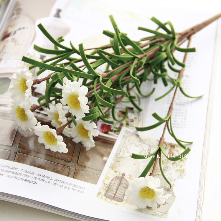 PE Artificial Gerbera Daisy flower boupe Mini White Artificial Daisy ...