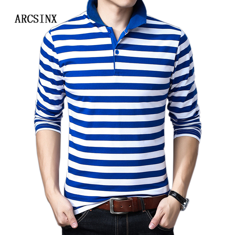 ARCSINX Brands Mens   Polo   Shirts Plus Size 5XL 4XL 3XL Striped Long Sleeve Man   Polos   Casual Cotton Slim Fit Man   Polo   T-Shirt