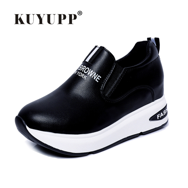 Shoes Women High Top Autumn Quality Leather Wedges Casual Shoes Height Increasing Slip On Ladies Shoes Trainers Size 35-39 YD159