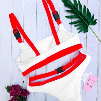 2020 Sexy White/Red High Cut Out Biquini Bandage Buckle Swim Bathing Suit Swimsuit Swimwear Women Brazilian Bikini Drop Shipping 3