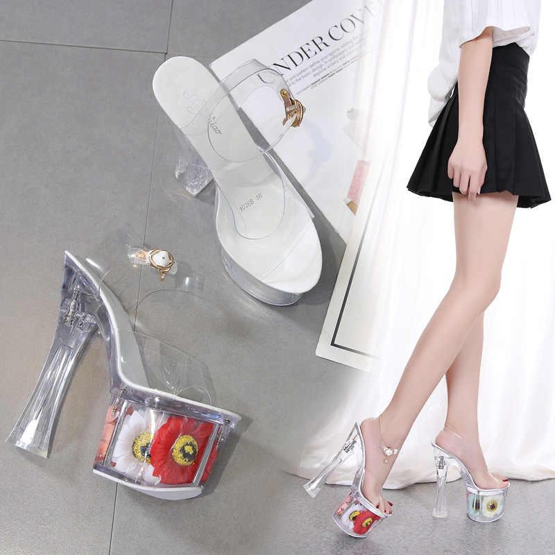 Cristal Para Sandalias Zapatos 17 Cm Mujer Sexy De Transparentes 43 Sol Tacón Tacones Tamaño 34 Flor Finos Fresco Cuadrado Verano jzVUGLMpqS