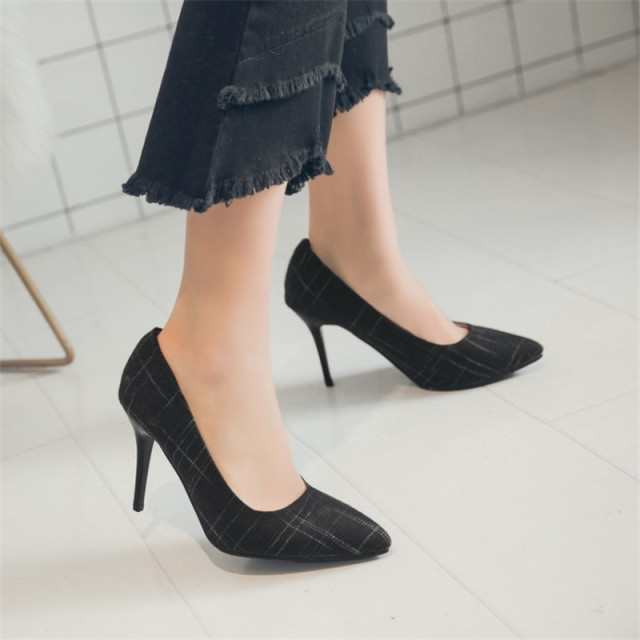 Big Size Women's Shoe 9cm MOC 2 High Heels Pumps Party Shoes For Women Canvas Wedding Shoes chaussure femme 5