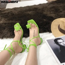 цена TINGHON Lace up Cross-tie Gladiator Sandals Women Thick Heel Summer Women Sandals Electric Green Flip Flops Shoes Women в интернет-магазинах