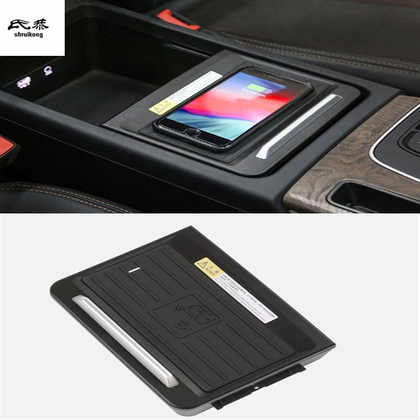 1lot Car sticker Mobile phone wireless charging Central Armrest storage box For 2018 2019 AUDI Q5