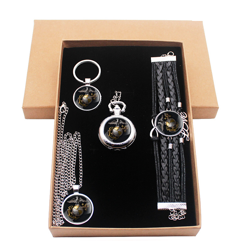 New United States Marine Corps Jewelry Gift Set Have Pocket Watch And Pendant Necklace And Key Chain Bracelet With Gift Box