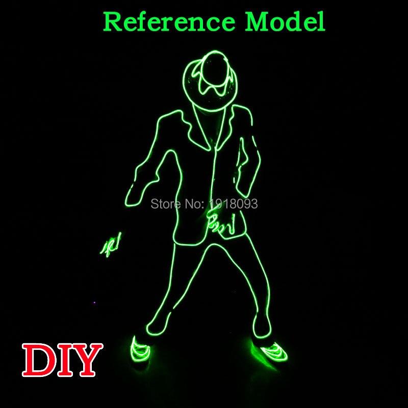 LED EL fil costume EL bricolage matériel MJ hommes néon lueur lumière pour les fournitures de fête d'événement
