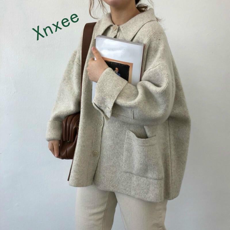 Xnxee קוריאני סתיו בציר סוודרים סוודרים לנשים 2019 חדש סריגי אופנה מוצק סיבתי ארוך שרוול מעיל סריגים