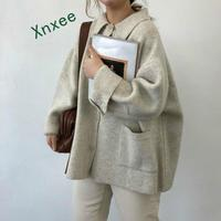 Xnxee Korean Autumn Vintage Sweaters Cardigans for Women 2019 New Knitwear Fashion Solid Causal Long Sleeve Knitted Coats