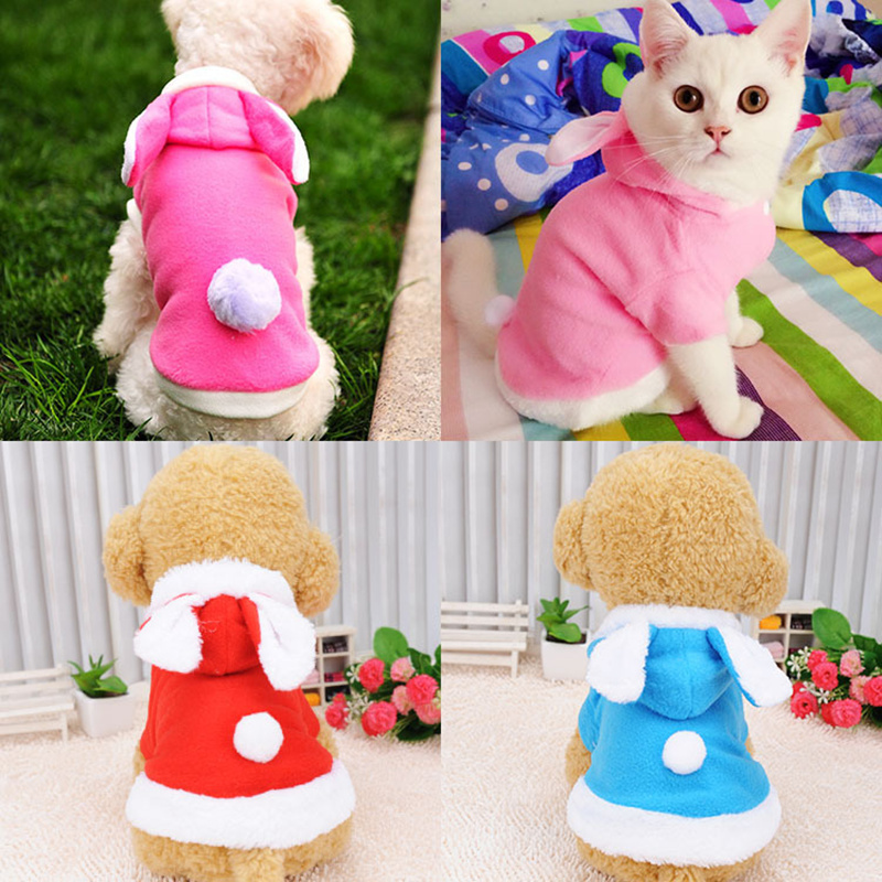 Warm Thickened Cat Easter Costumes Rabbit Suit Free Clothes Windproof Pet Product Cute Bunny Suit  For Cat Winter Shipping