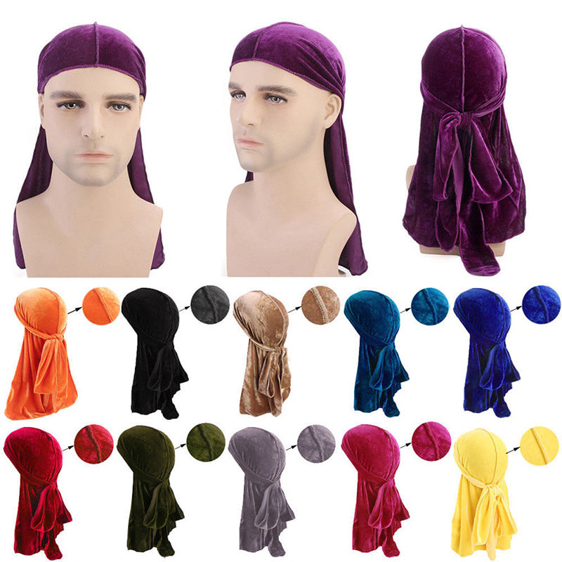 Unisex <font><b>Men</b></font> Lady Velvet <font><b>Silk</b></font> Breathable Bandana Hat Turban Cap Headwear Velvet <font><b>Durag</b></font> Long Headwrap Chemo Cap image