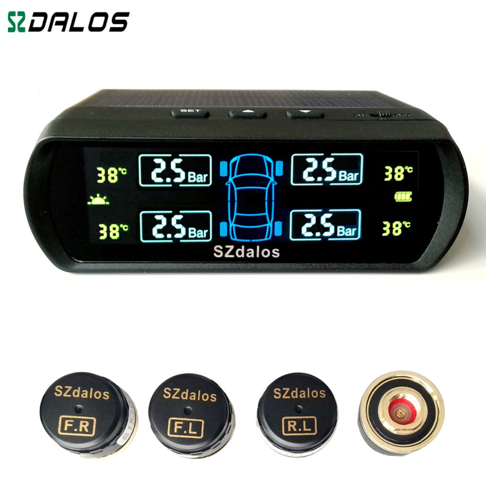 2016 Latest style Solar TPMS  newest technology Car Tire Diagnostic-tool  with mini external sensor Auto Wireless Universal TPMS