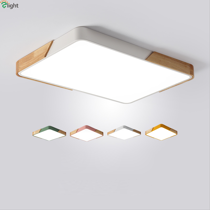 Nordic Square Multicolor Alloy Led Ceiling Lights Living Room Oak Dimmable Led Ceiling Lamp Bedroom Led Ceiling Light Fixtures