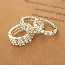1 Row 2 and 3 Rows Three Kinds Full Shiny Crystal Flexible Adjustable Ring for Women(China)