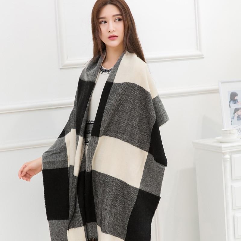 2016 za winter scarf women font b Tartan b font Scarves Long Size Plaid Scarf cuadros