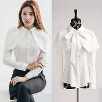 TUHAO New Shirts Women Long Sleeve Peter Pan Collar Shawl White Blouses 2018 Spring Summer Bow