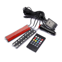 4Pcs Car RGB LED Music Voice Sound Control Car Interior Decorative Atmosphere Auto RGB Pathway Floor
