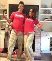 Correspondência da família Causal Pijamas Set Mulheres Homens Casal Vermelho Mangas Curtas Tops Pijamas roupa Do Natal