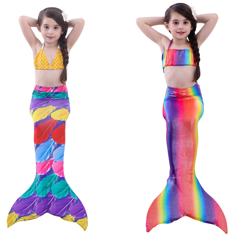 4Pcs Girl's Mermaid Tails For Swimming Costume with Monofin Kid Zeemeerminstaart Cola De Sirena Cauda De Sereia Cosplay