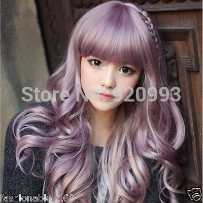 FREE SHIPPING Japanese Harajuku Zippe mix Purple Gradient 60cm curly Lolita Cosplay Party Wig