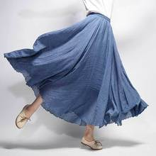 Danjeaner Women Linen Cotton Long Skirts Elastic Waist Pleated Maxi Skirts Beach Boho Vintage Plus Size Summer Skirt Faldas Saia