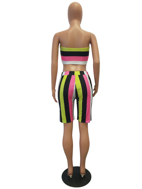 Adogirl Colorful Stripe Print Women Tracksuit Strapless Crop Top Summer Shorts Casual Two Piece Set Sporting Outfits Clubwear