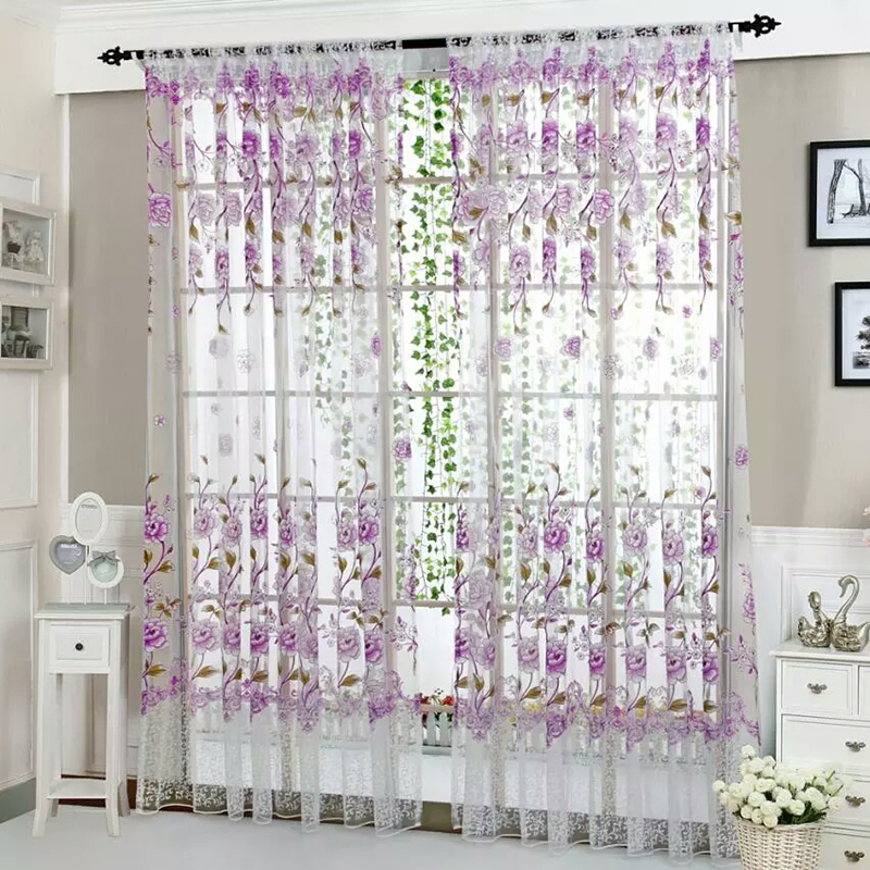 Gray blue purple flower tulle curtains for living room - Blue and purple bedroom curtains ...