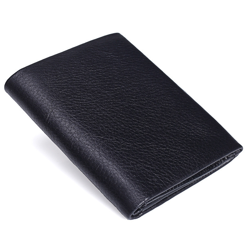 New Pattern Classical Black Genuine Leather Male Short Wallets The First Layer Cowhide Men Small Purse Card Holder PR079085