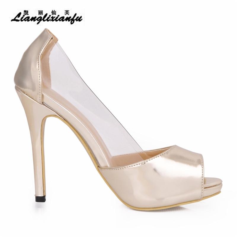 42 43 Llxf Peep Tacón Femenino Plus 11 Toe Sandalias Bombas Verano Transparente Oro Zapatos Stiletto 41 Fino Cm De Mujeres 35 HIxFUHq